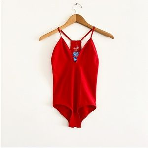 Free People Move Along M/L Red Bodysuit NEW